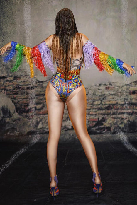 Rhinestones Tassel Bodysuit Women Nightclub DJ Singer Stage Costumes Stretch Leotard Party Celebration Dance Performance Outfits on LootDash