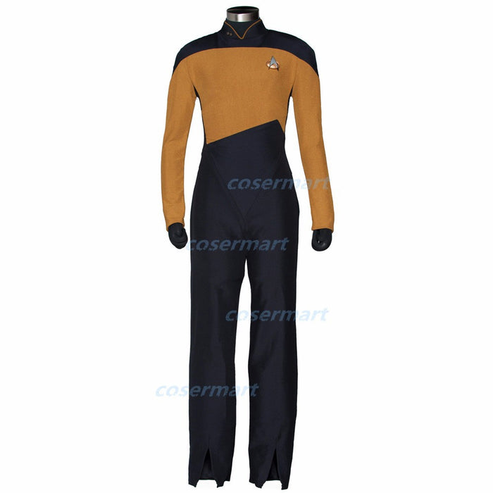 ST Jumpsuit Star The Next Generation Badge rek Cosplay Costume Red Blue Yellow Body Suit