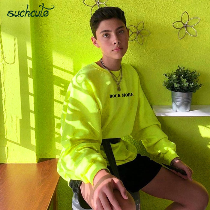 SUCHCUTE Women's Hoodies Neon Green Casual Lose Weight Hoody Top Sudadera Mujer Kpop O Neck Autumn 2019 Female Gothic Sweatshirt LootDash