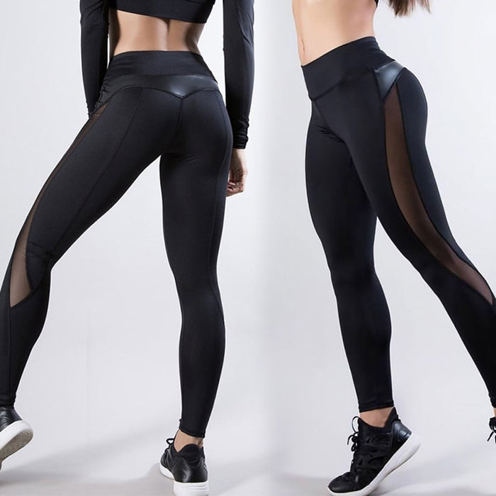 Sexy Women's Gym Fitness Black Leggings Running Sports Breathable Compression High Waist Exercise Mesh Dry Quick Jogging Pants LootDash