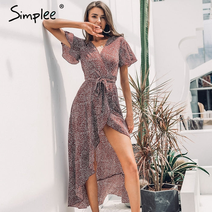 Simplee Leopard print dress women Summer sashes long green split floral print beach dress Sexy holiday female plus size vestidos