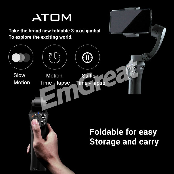 Snoppa Atom 3 Axis Foldable Pocket Sized Handheld Gimbal Stabilizer for iPhone Smartphone GoPro & Wireless Charging PK Smooth 4