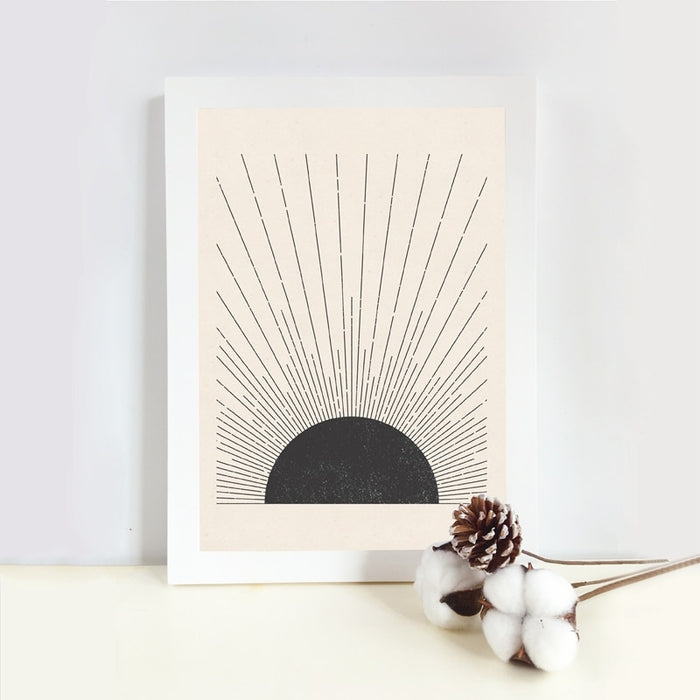 Sun Illustration Mid Century Modern Block Print