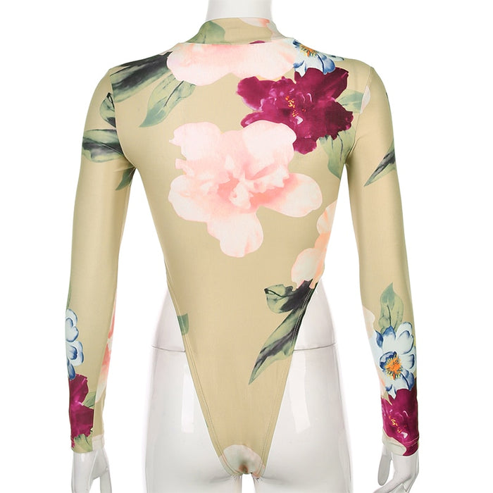 Sweetown 2020 Spring New Floral Print Body Mujer Elegant Vintage Fashion Bodycon Bodysuit Turtleneck Long Sleeve Jumpsuits Short LootDash