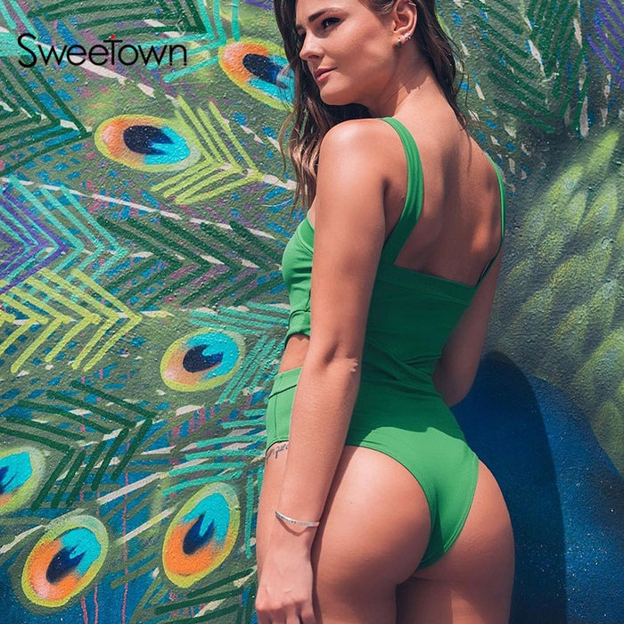 Sweetown 2020 Summer Cut Out Rave Sexy Body Women Casual Fitness Activewear Cross Halter Vest Rompers Women Bodysuit Beachwear LootDash