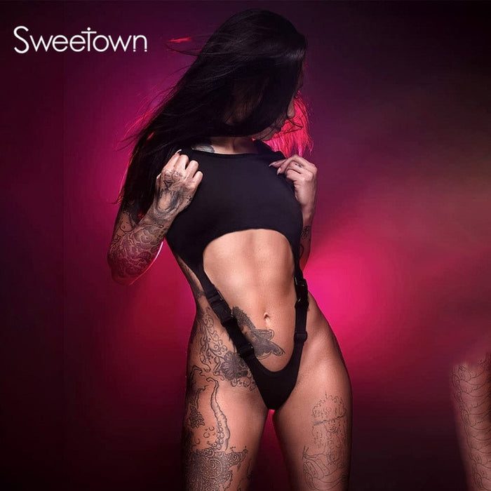 Sweetown 2020 Summer New Cut Out Strap Bodysuit With Buckle Off Shoulder Sleeveless Sexy Gothic Body Women Rompers Rave Clubwear LootDash