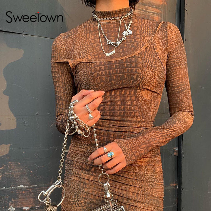 Sweetown Crocodile Print Rave Bodysuit Women Autumn Winter 2019 Fashion Bodies Ladies Turtleneck Long Sleeve Bodycon Bodysuits LootDash