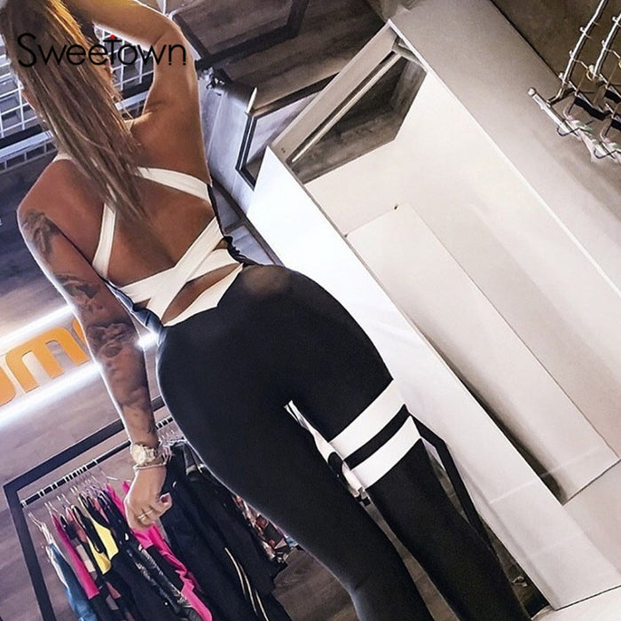 Sweetown Cross Hollow Out Sexy Workout Jumpsuit Women Activewear Striped Body Mujer Rompers Female Fitness One Piece Tracksuit LootDash