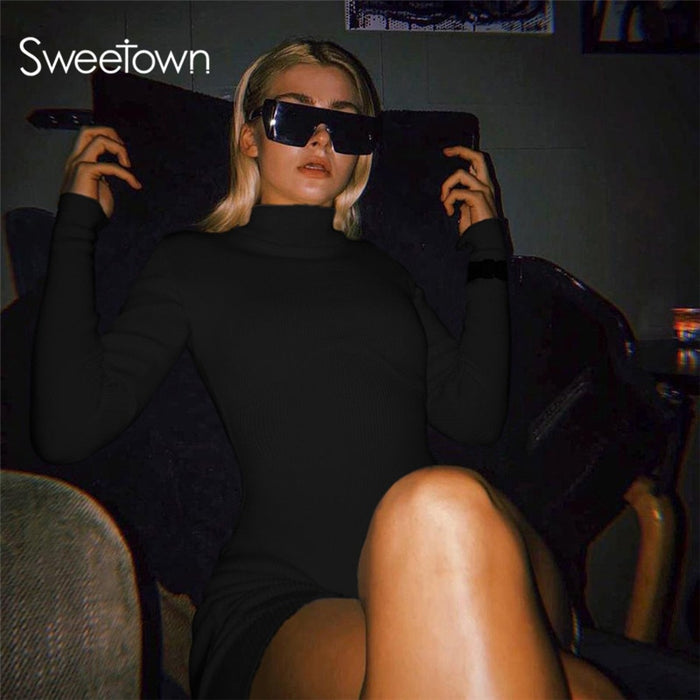 Sweetown High Quality Elegant Solid Bodycon Turtleneck Jumpsuit 2020 Casual Street Elastic Tracksuit Playsuit/Bodysuit Mujer on LootDash