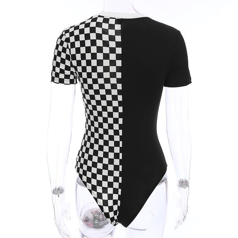 Sweetown Short Sleeve O Neck Bodycon Bodysuit Women Clothes 2019 Patchwork White In Black Contrast Color Basic Bodysuit Elegant LootDash