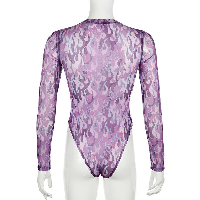 Sweetown Transparent Sexy Mesh Bodysuit Women Rave Clothes Long Sleeve Flaming Fire Print Bodies Ladies Rompers Womens Bodysuits on LootDash