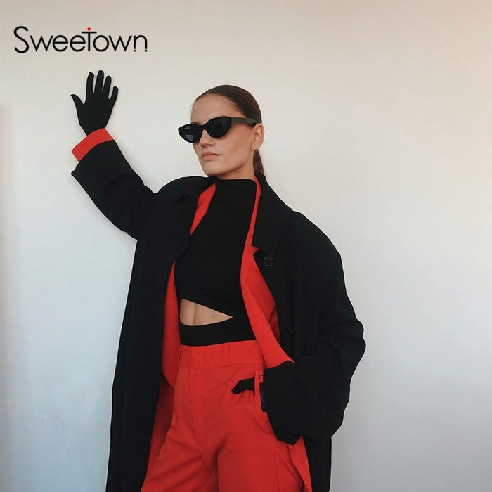 Sweetown Winter Fashion Cut Out Long Sleeve Basic Bodysuit With Gloves Slim Sexy Body Mujer Turtleneck Rompers Women Bodysuits on LootDash