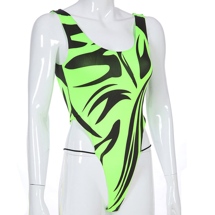 Sweetown Zebra Striped Printed Off Shoulder Strap Bodysuit Women Rave Outfits Neon Color Backless Sexy Bodycon Bodysuits Fashion on LootDash