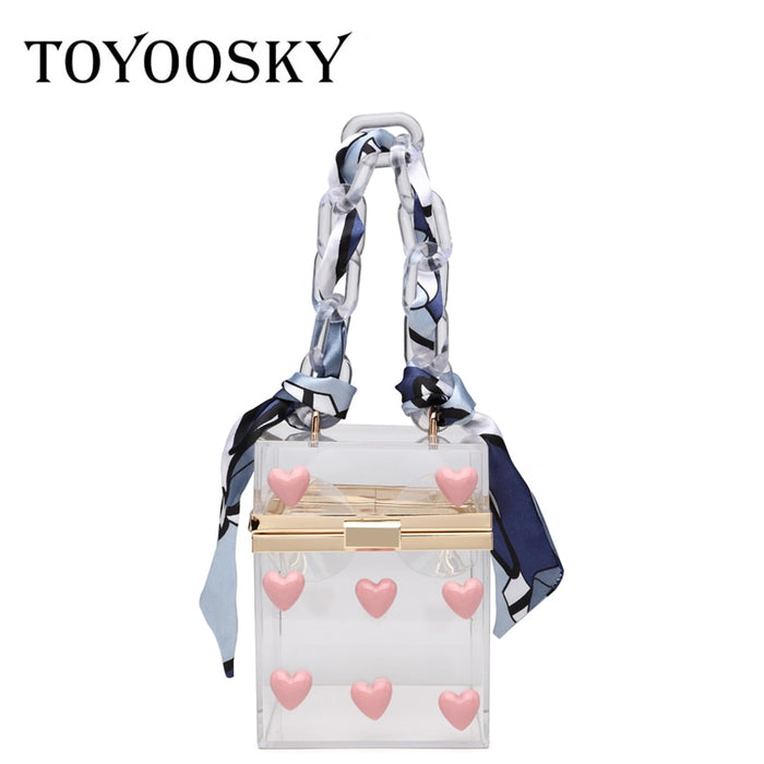 TOYOOSKY Transparent totes bag clear acrylic PVC plastic box bag women girl retro evening weding party handbag scarf summer bag|Shoulder Bags
