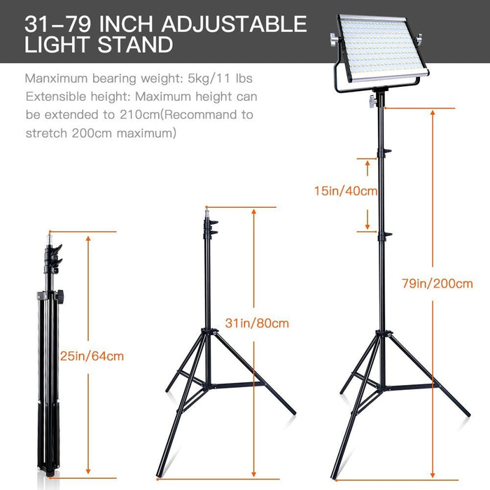 Travor Dimmable Bi color 2set LED Video Light Kit with U Bracket 3200K 5600K CRI96 and Bag for Studio Photography Video Shooting