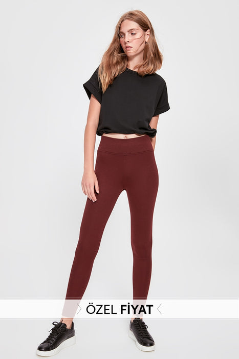 Trendyol Burgundy High Waist Knitted Leggings TWOAW20TA0047