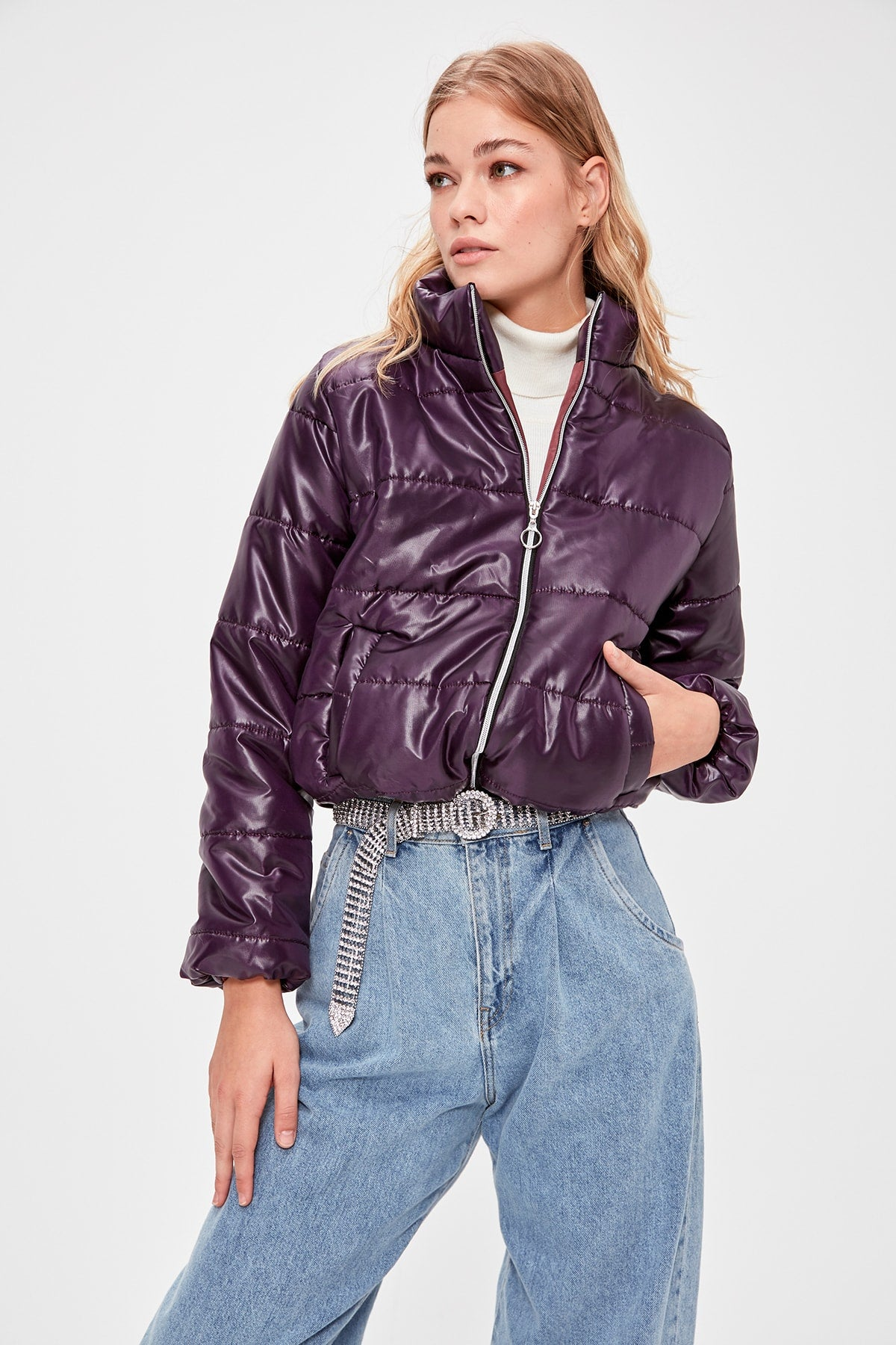 Trendyol Damson Zipper It Should Cover Upright Collar Inflatable Crop coats TWOAW20MO0088