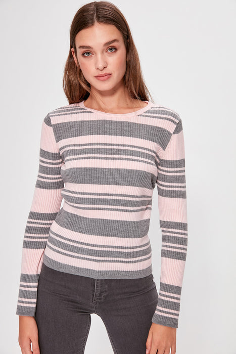 Trendyol Gray Striped Knitwear Sweater TWOAW20KZ0159 on LootDash