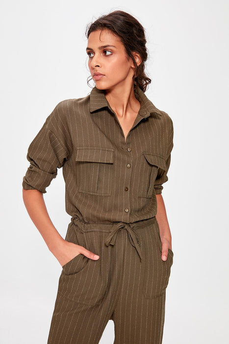 Trendyol Khaki Belted Jumpsuit on LootDash