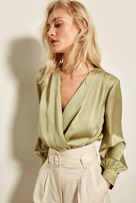 Trendyol Mint Double Breasted Collar Body Silk Blouse TOFAW19BB0678
