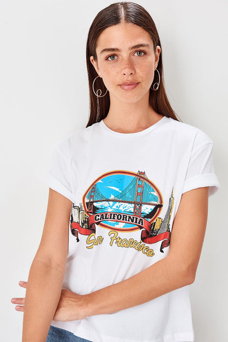 Trendyol White Basic Printed Knitted T Shirt TWOSS19GS0052