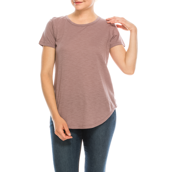 4 Pack Neutral Curved-Hem Crew Neck Basic Tees