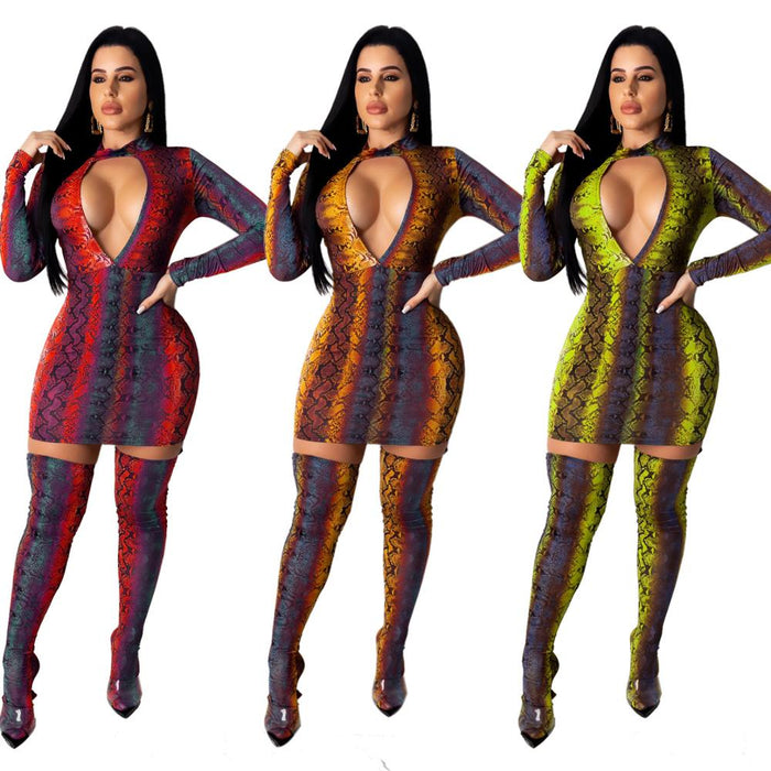 Women Snake Print Bodycon Dress Sexy Hollow Out Turtleneck Long Sleeve Evening Party Dresses Vintage Clubwear Plus Size 2020 LootDash