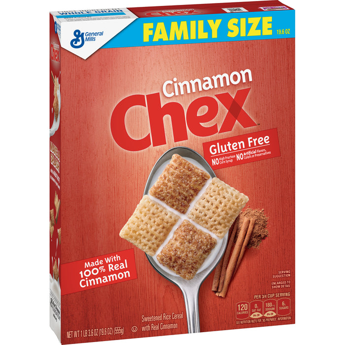 General Mills, Chex Breakfast Cereal, Cinnamon, Gluten Free, Family Size, 19.6 oz