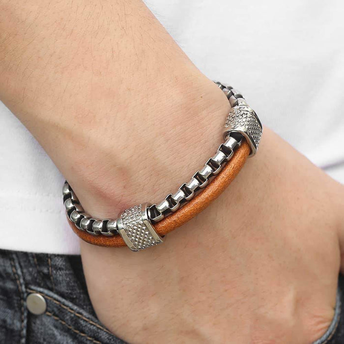 Double Layers Genuine Leather Bracelets for Mens Boys Stainless Steel
