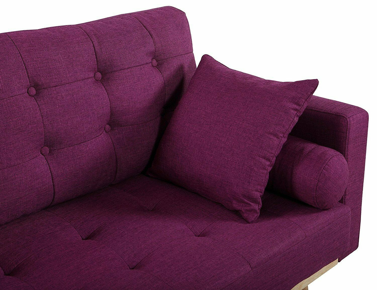 Mid-Century Wood Frame Sofa Modern Tufted Linen Fabric Couch Purple