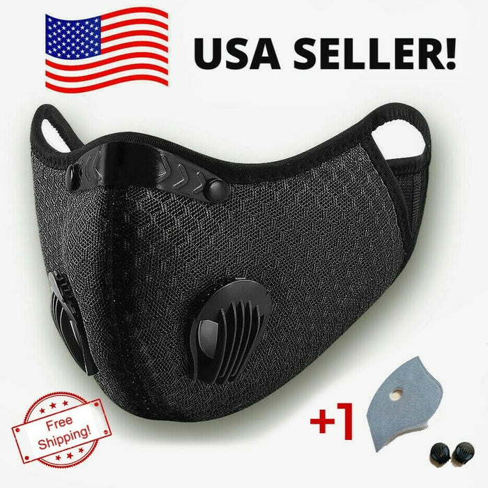 USA Activated Carbon Face Mask Shield with Air Purifying Reusable Cycling Filter