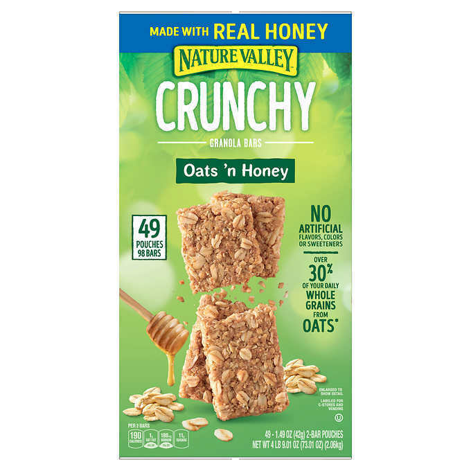 Nature Valley Crunchy Granola Bar, Oats 'n Honey, 1.49 oz, 49-cou