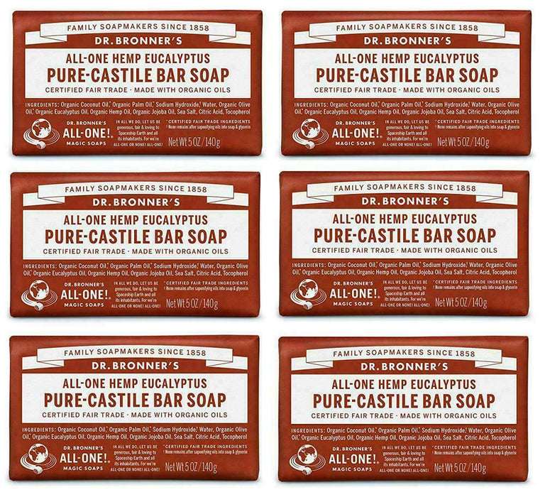 Dr. Bronner's Pure-Castile Bar Soap – Eucalyptus, 5oz, 6 pack
