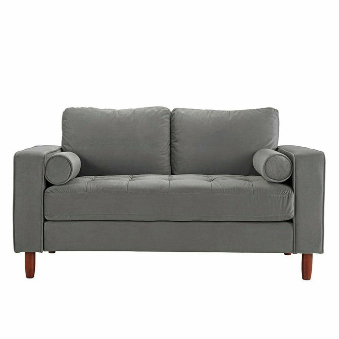 Grey Small Space Loveseat Sofa Velvet Fabric with 2 Accent Bolster Pillows