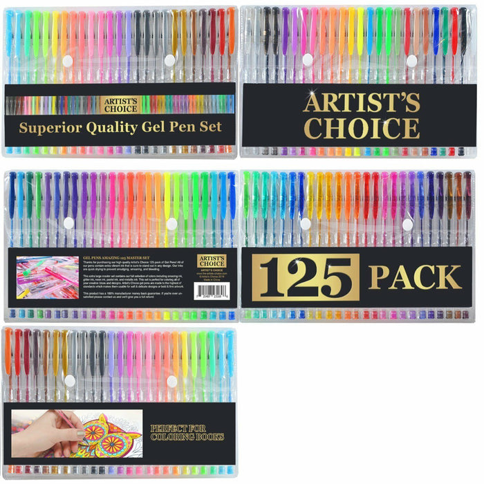 125 Gel Pens + Carrying Case (XL Set) - 125 Individual Colors (No Duplicates)