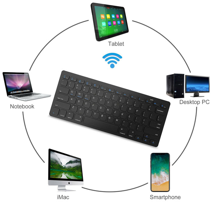 Wireless Bluetooth Keyboard Slim For Android Windows iOS Tablet PC Desktop Mac