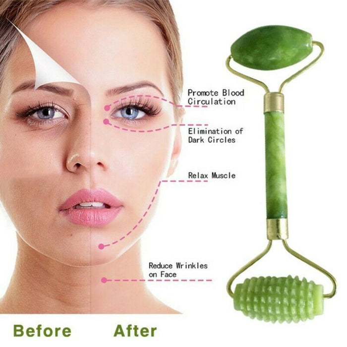 Rose Quartz Facial Massage Roller Stone Face Massager Tool Jade Anti-aging SPA