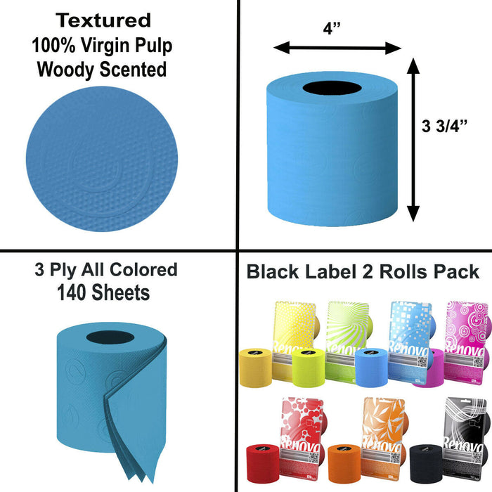 Renova Luxury Scented Colored Toilet Paper 2 Rolls Pack 3-Ply Bath Tissue