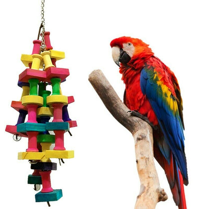 Pet Bird Chew Bite Toy Rainbow Building Blocks String Large Rope Parrot Chew Toy