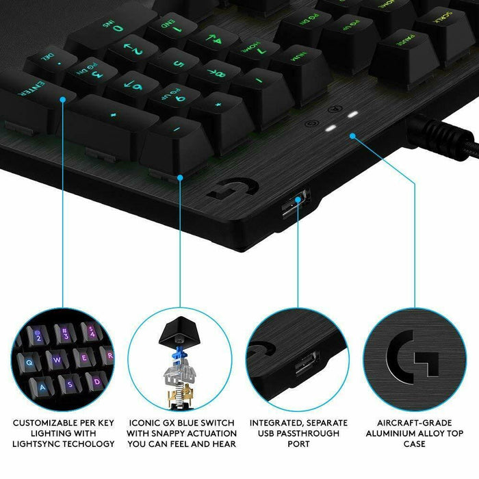 Logitech G513 RGB Mechanical Gaming Keyboard w/ GX Blue Clicky Keys, Carbon