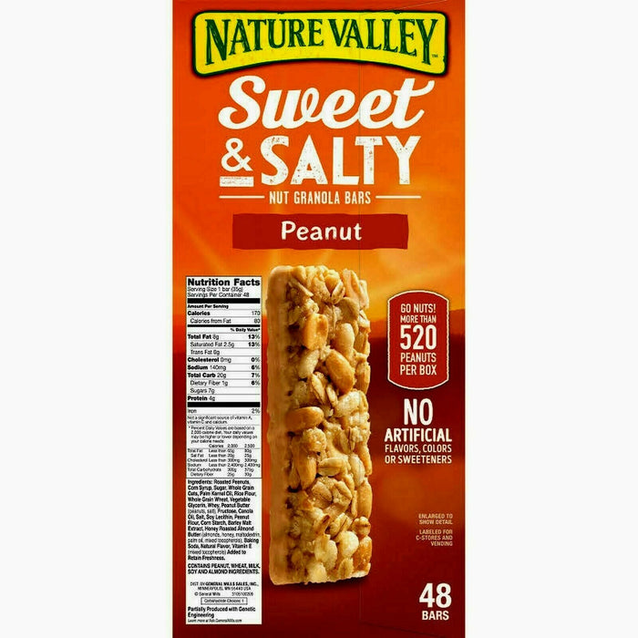 Nature Valley Sweet & Salty Nut Granola Bars, Peanut, 48 count 1.2 oz bars