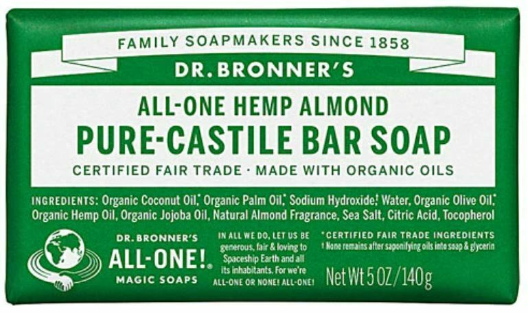 3Lots, Dr BRONNER'S ORGANIC PURE CASTILE BAR SOAP, ALMOND 5oz