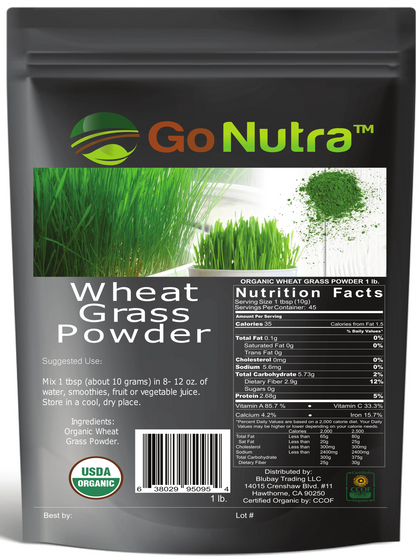 Wheat Grass Powder 1 lb - USDA Certified Organic -Non-Gmo Greens Superfood