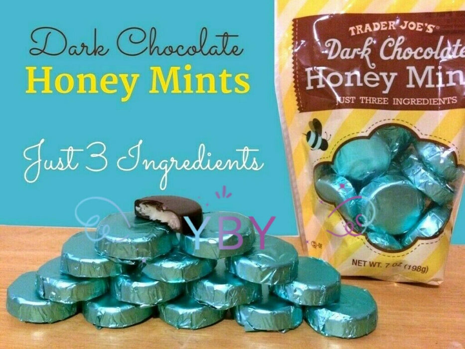 4 Packs Trader Joe's Dark Chocolate Honey Mints 7 OZ Each Pack