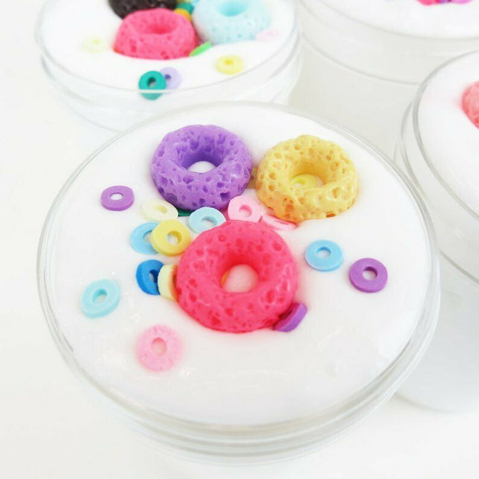 Fruity Rings Cereal Milk - Thick and Glossy Scented Slime - Made in USA