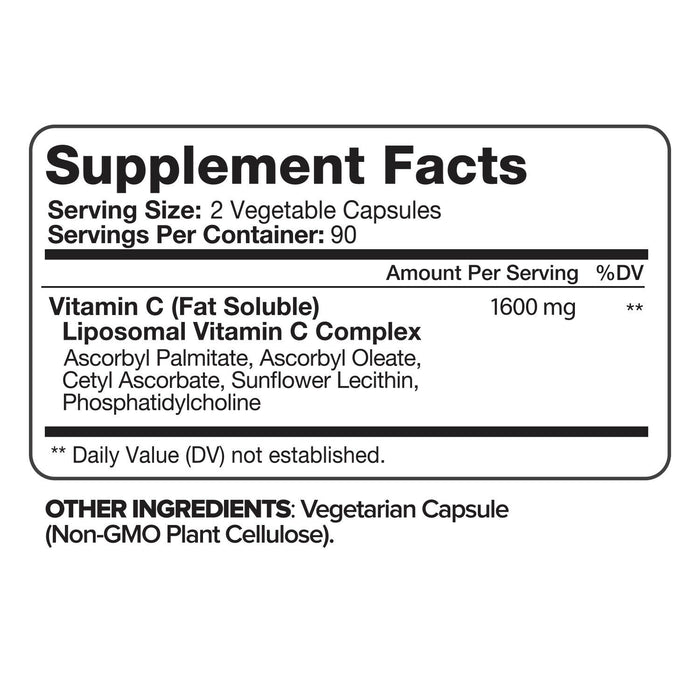 Nutrivein Liposomal Vitamin C 1600mg -180 Capsules - High Absorption Supplements