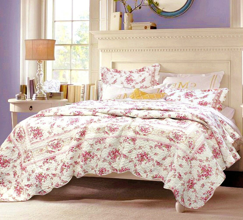 Shabby Chic Vintage Rose 100% Cotton Quilt Set, Bedspread, Coverlet