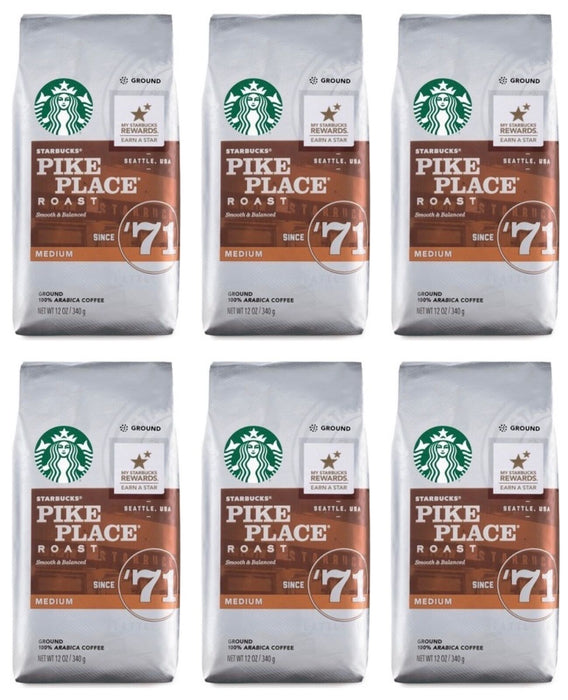 Starbucks 6 PACK Pike Place Medium Roast Ground Coffee BBD MAR 2020
