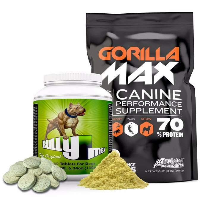 Bully Max & Gorilla Max Muscle Builders for dogs (Combo Pack)