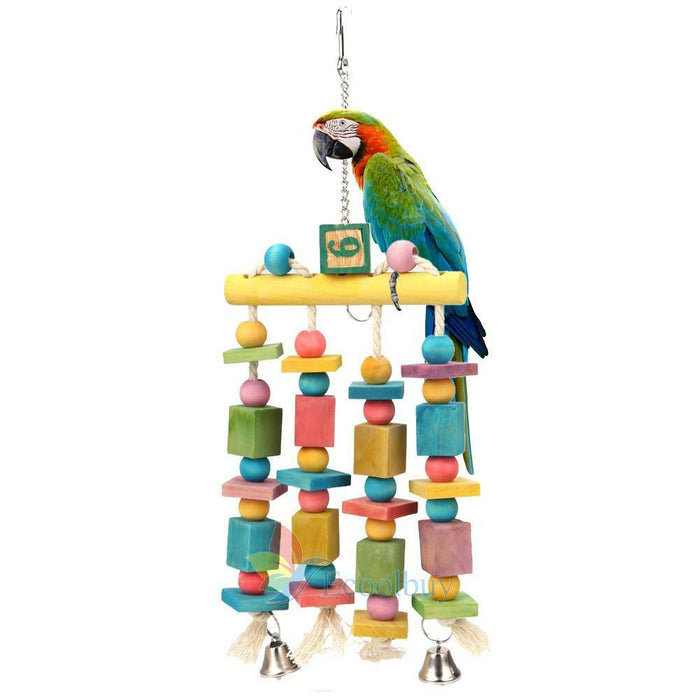 Colorful Parrot Pet Bird Macaw Hanging Chew Toy Bells Wood Blocks Swing Toy #A